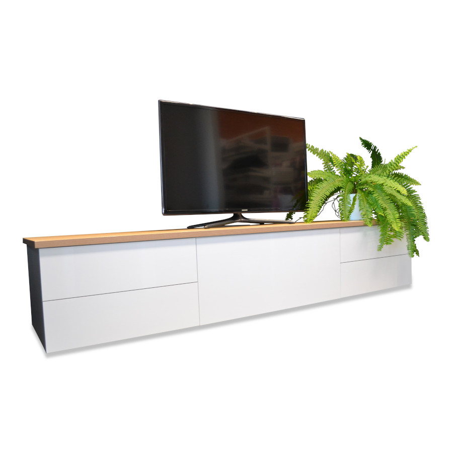 Suspended TV Cabinets with LED Lighting and Push to Open Drawers