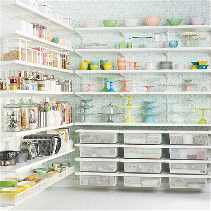 Effective Pantry Shelving Designs For Well Organized: Elfa Shelving And Storage System In The Pantry