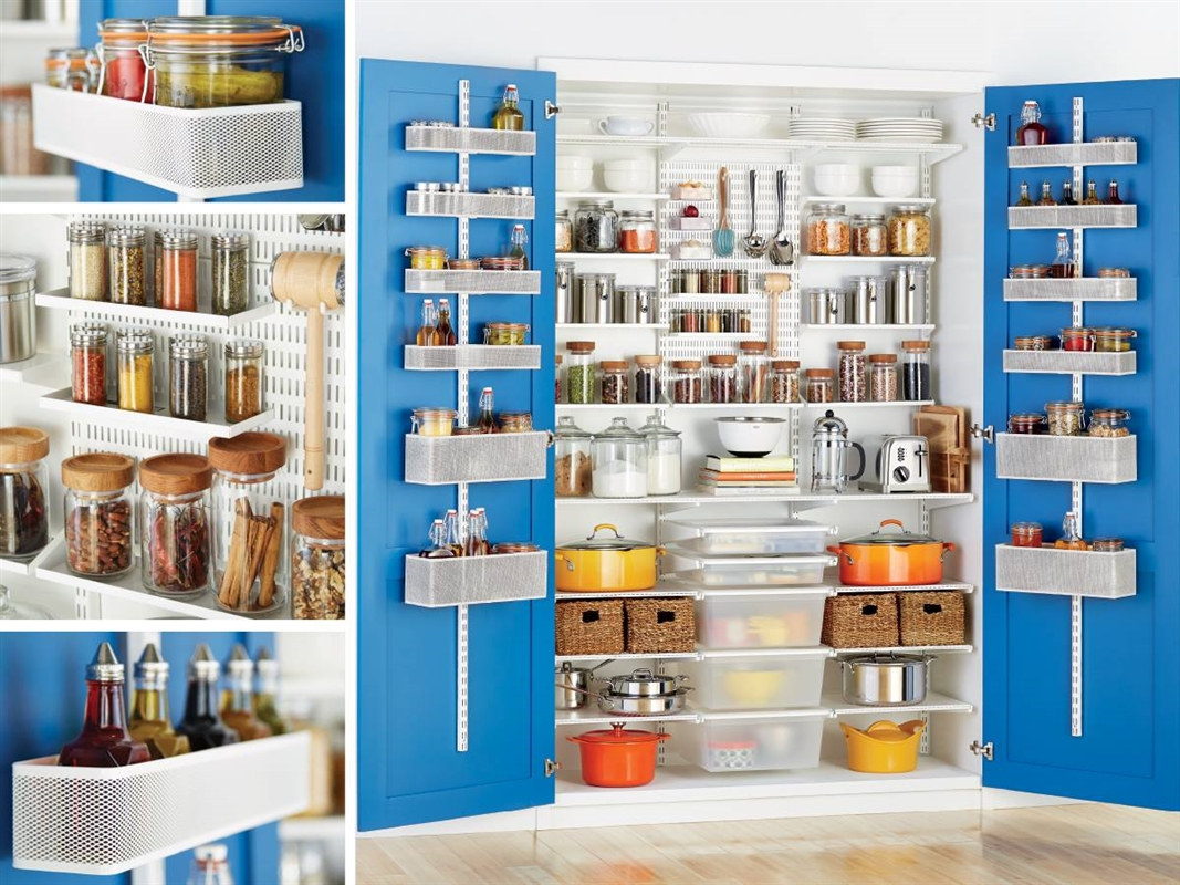Elfa shelving and storage system in the pantry for Elfa desk system